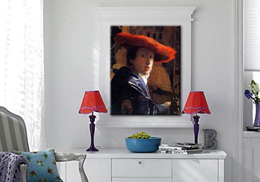 jan vermeer m dchen mit rotem hut 55x70 cm bild leinwnd ebay. Black Bedroom Furniture Sets. Home Design Ideas